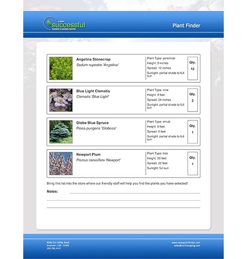 NetPS Plant Finder Printable Plant List Page