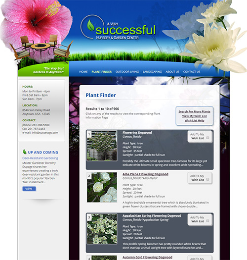 NetPS Plant Finder Results Page